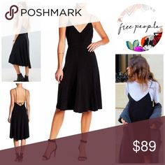 """FREE PEOPLE SLIP DRESS RETAIL PRICE: $108 💟NEW WITH TAGS💟  SIZING- S = 4-6 FREE PEOPLE Midi Slip Dress }  * Crisscross back thin tank straps; Deep V-neck  * Strappy back self-tie  * Topstitch details  * Approx 43"""" long; A-line  * Lightweight fabric; Ideal for layering  Fabric-88% polyester, 12% spandex; Color- Black  Search words # Vintage  ITEM# 🚫No Trades🚫 ✅ Offers Considered*/Bundle Discounts✅  *Please use the blue 'offer' button to submit an offer Free People Dresses Midi"""
