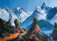 World Famous Painters, Places To Travel, Places To See, Nepal Art, Painting Tools, Painting Art, Art Paintings, Watercolor Paintings, Fantasy Landscape