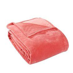 HS Fleece Polyester Microfiber Throw Blanket, Queen, Coral