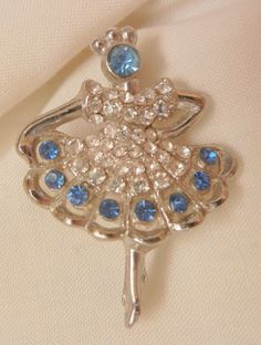 Today's sparkling arrivals Hold me closer tiny dancer ballerina blue and clear rhinestone Brooch