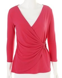 Solid Cross Front Draped Knit Top