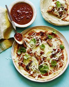Carnitas Mexican Pizza Recipe from www.whatsgabycooking.com (@whatsgabycookin) made with @oldelpaso refried beans, melted cheese and CARNITAS!! the best dinner ever
