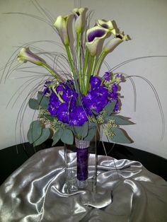 Everyday Arrangement -- Calla Lillies and Purples