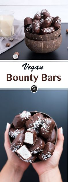 Bounty Bars Vegan bars - only 4 ingredients! A and snack idea. Recipe is on www.eat-Vegan bars - only 4 ingredients! A and snack idea. Recipe is on www. Healthy Snacks To Buy, Healthy Sweet Treats, Easy Snacks, Healthy Desserts, Healthy Recipes, Easy Baking For Kids, Baking Recipes For Kids, Snack Recipes, Dessert Recipes