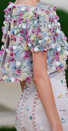 Spring 2019 Couture_ - Dyosa Queen G -Chanel Spring 2019 Couture_ - Dyosa Queen G - Artist, Laura Dro, hand painting fabric to create collections of one of a kind fold over clutches. Women's Fashion Hot Drilling See-Through Long Sleeve Blouse - . Chanel Outfit, Chanel Fashion, Couture Fashion, Runway Fashion, Womens Fashion, Milan Fashion, Floral Fashion, Look Fashion, Fashion Details