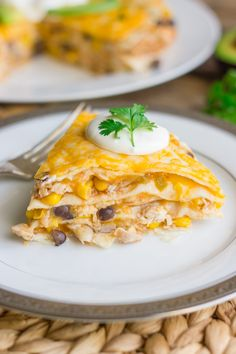 Southwestern Chicken Taco Pie ~ layers of chicken, black beans, corn, cheese, and tortillas - quick and easy!