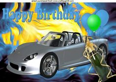 SILVER CAR WITH CHAMPAGNE ON TURQ ABSTRACT A4 on Craftsuprint - Add To Basket!