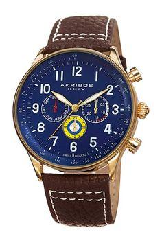 Akribos XXIV Men's Quartz Genuine Leather Strap Watch by TWI Watches on @HauteLook
