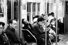 Scene on the New York subway, 1969.