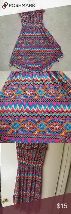 Summer Dress or Cover Up Summer Dress or Cover Up in colorful Aztec print; ties at the neck, ruffle on top and along the hem. higher in the front than the back, Dresses Midi