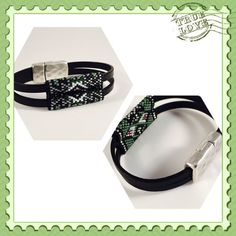 The Green One Seed Beaded Leather Strap Bracelet by Calisi on Etsy