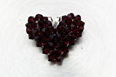 Garnet Swarovski Crystal Puffed Heart Charm by HandmadeJILLry, $18.00