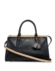 """Introducing a limited-edition collection created in collaboration with Selena Gomez. The Bond is an effortless satchel crafted of colorblock calf leather. It features """"not perfect, always me"""", Selena's empowering personal motto printed in her own handwrit Prada Handbags, Prada Bag, Coach Handbags, Purses And Handbags, Leather Handbags, Coach Bags, Chain Shoulder Bag, Small Shoulder Bag, Selena Gomez"""