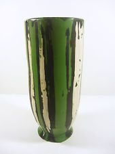 "GORKA LIVIA GREEN RETRO VASE WITH BLACK & WHITE STRIPES 9"",1950'S ART POTTERY !"