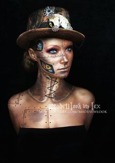 Metal doll- obviously too much work for you to do ALL of this, but you could totally put a patch over your cheek or neck or something to make it look more 'mechanic'