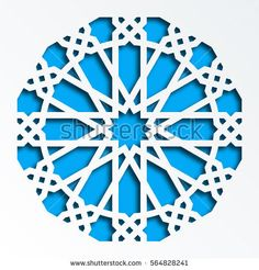 Islamic geometric pattern. Vector 3D muslim mosaic, persian motif. Elegant oriental ornament, traditional arabic art. Mosque decoration element. Blue mandala for brochures, greeting cards