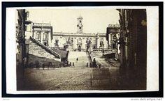photo albuminée cdv originale 1870 - le Capitole de Rome Roma   M1