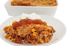 Skinny Mexican Chicken and Brown Rice Casserole with Weight Watchers Points | Skinny Kitchen