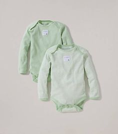 Bee Essentials Set of 2 Long Sleeve Bodysuits: Color - Leaf