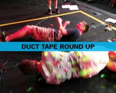 Duct Tape Round Up - Fun Ninja Youth Group Games // duct tape someone, sticky side out, and let them roll around for 30 seconds. Person with the most items will!