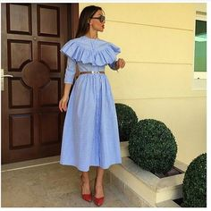 Хлопковое платье-рубашка с воланом VafaAdams white and sky blue cotton dress Worldwide delivery Доставка по миру