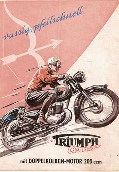 Triumph Cornet Bike Poster, Motorcycle Posters, Motorcycle Types, Motorcycle Art, Car Posters, Bike Art, Motorcycle Quotes, Vintage Bikes, Vintage Motorcycles