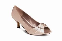 Classic taupe satin effect evening shoe with diamante buckle detail,reapshop.co.uk, Evening Shoes, Wedding Season, Personalized Gifts, Taupe, Unique Gifts, Kitten Heels, Satin, The Originals, Classic