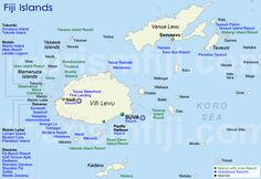 Map of Fiji islands. I hear the best beaches are in the north in Yasawa Island chain.