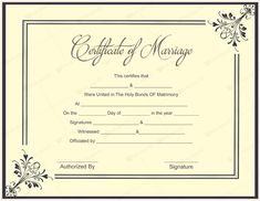 Printable Marriage Certificate Template #marriage #certificate ...