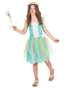 Disfraz de princesa flor para niña: Disfraz de princesa flor para niña que se compone de un top, una falda y una corona de flores.Lleva pequeños velos cosidos en los hombros. La parte superior del disfraz es una camiseta...