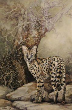 2019 painting by Cheryl van Dyk. Oiland pen on canvas. Serval, Wildlife Art, Cheryl, Panther, Van, Canvas, Painting, Animals, Tela