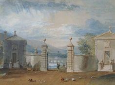 Joseph Mallord William Turner 'Otley Lodge ['West Lodge'] and Bridge [Designed by Turner]', - Bodycolour on paper - : 329 x 444 mm - courtesy Private Collection, UK Landscape Art, Landscape Paintings, Turner Painting, Joseph Williams, English Romantic, Joseph Mallord William Turner, Tate Gallery, Bridge Design, Covent Garden