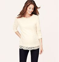 Maternity Lace Trim Sweatshirt - A peek-a-boo of lace flirts up this slubby cotton terry fave. Ballet neck. Long sleeves. Ribbed neckline and cuffs.