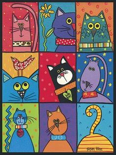 Cat Patch – these would be adorable painted on individual tiles and put around a mirror or in a tray or table! Cat Patch – these would be adorable painted on individual tiles and put around a mirror or in a tray or table! Arte Elemental, Art Fantaisiste, Cat Patch, Cat Quilt, Cat Crafts, Whimsical Art, Elementary Art, Crazy Cats, Cat Art