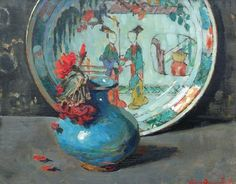 Lucie van Dam van Isselt  Still Life with Vase and Chinese Bowl  20th century
