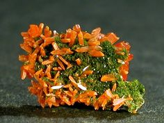 Crocoite on pyromorphite, Australia