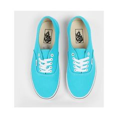 Vans Authentic Peacock Blue, White ❤ liked on Polyvore featuring shoes