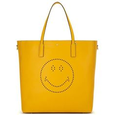 Anya Hindmarch Smiley Featherweight Ebury Tote (£895) ❤ liked on Polyvore featuring bags, handbags, tote bags, genuine leather handbags, anya hindmarch tote, lightweight tote bag, genuine leather tote and genuine leather purse