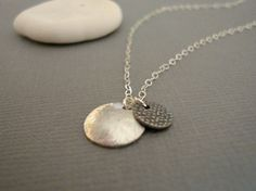 silver pebble  brushed dome sterling silver  by greenteajewels