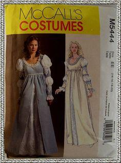 Renaissance Dress Costume Pattern UNCUT 14-20 McCalls 5444 Renaissance Gown
