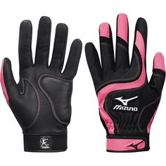 Mizuno Finch Premier G2 - Youth - BG's - Black/Pink by Mizuno. $1.99. The Mizuno® Jennie Finch Premier G2 youth softball batting glove is crafted with top-quality leather and a padded Mizuno Shockpalm™ for additional comfort. Mizuno® Flexmesh™ gussets give freedom of joint movement, and the ergonomic cut replicates the normal function of the hand.