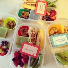 Snap peas, strawberries, grapes, and blueberries, homemade granola bars, cheesy pizza waffles with pizza sauce for dipping, cheese stick. #easylunchboxes #healthy via @photogang30 , Instagram  Purchase EasyLunchbox containers HERE: http://www.easylunchboxes.com/