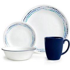 Corelle 32-Piece Livingware Ocean Blues Dinnerware Set, Blue