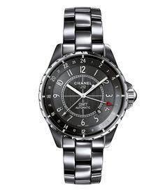 Chanel Horlogerie montre J12 Chromatic GMT http://www.vogue.fr/vogue-hommes/montres/diaporama/montres-d-ete-chronographes-acier-cadran-noir-hommes/19048/image/1006612#!chanel-horlogerie-montre-j12-chromatic-gmt