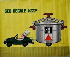 SAVIGNAC. R  SEB RÉGALE VITE. 1966 Imprimerie de la Vasselais, Paris - 86x105cm