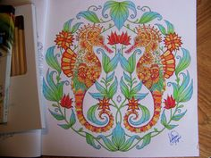 """Adult Coloring Book """"Lost Ocean"""" Johanna Basford. Seahorses. Colored by Donna Leger"""