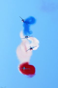Alpha jets of the Patrouille de France, the aerobatic team of the French Air Force perform during the Malta International Airshow over Malta International Airport outside Valletta. September 25 2014