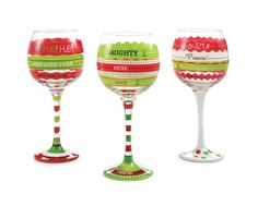 Amazon.com | Mud Pie Fill to Here Christmas Wine Glasses Three Designs One Glass: Cute Wine Glasses: Wine Glasses