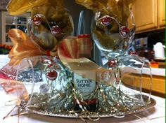 Set of 4 burgundy wire wrapped stemmed wine glasses - $30.00/set