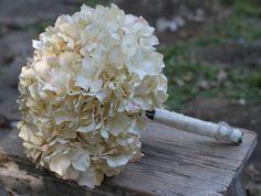 Hydrangea Wedding Bouquet Lace and Crystal Heart, Custom Color Hydrangea, Bead Centers, Rustic Wedding, Shabby Chic Wedding